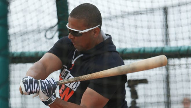 Tigers DH Victor Martinez takes batting practice during the first full team workout in spring training on Feb. 18, 2017, at Publix Field at Joker Marchant Stadium in Lakeland, Fla.