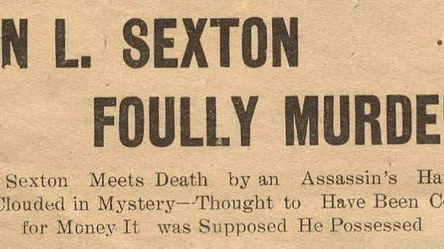 The Sheboygan Press' June 29, 1911, headline announcing Sexton's murder.