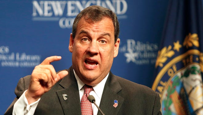 New Jersey Gov. Chris Christie speaks at the Politics and Eggs breakfast meeting at the New Hampshire Institute of Politics at Saint Anselm College on Tuesday, June 9, 2015, in Manchester, N.H. The New Jersey Supreme Court on Tuesday, June, 9, 2015, reversed a lower court's ruling that Christie's decision to slash pension funding violated the rights of public employees.