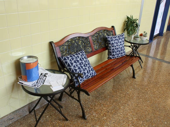 A bench at Binghamton's Horace Mann Elementary School