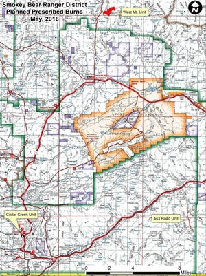 The map shows proposed areas for a series of prescribed burns on the Smokey Bear Ranger District.