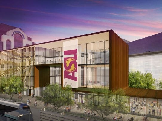 A rendering of the Arizona State University campus proposed in downtown Mesa in 2016. The proposal was voted down, included in a sales tax hike on the ballot in November 2016.