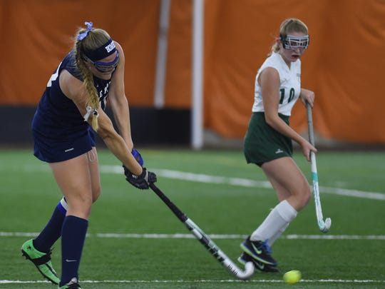 Pine Plains' Catie Gomm takes a shot during the Section 9 Class C final against Webutuck on Oct. 30 in Milton.