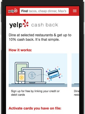 Yelp's new Cash Back program offers discounts of up to 10%