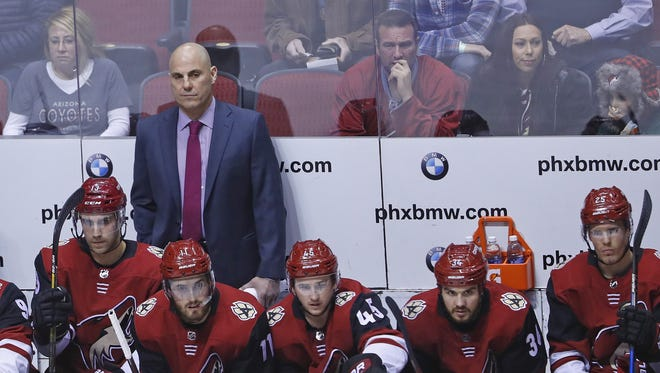 Coyotes head coach Rick Tocchet looks over his team during the second period at Gila River Arena on February 25, 2018 in Glendale, Ariz.