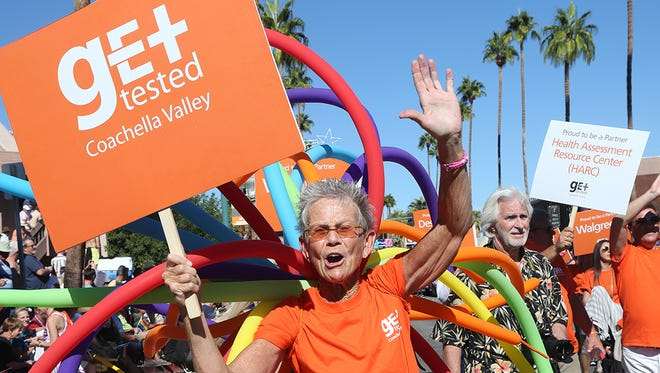 Get Tested Coachella Valley walked in the 28th annual Palm Springs Pride Parade travelled south on Palm Canyon Drive from Tachevah to Amado during the Pride Fest celebration in downtown Palm Springs, Sunday, November 9, 2014