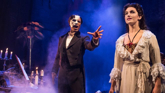 The Phantom, played by Derrick Davis, tries —  and fails — to win over Christine Daae, played by Eva Tavares, in The Phantom of the Opera, which is at The Orpheum Theatre in Memphis through Dec. 10, 2017.