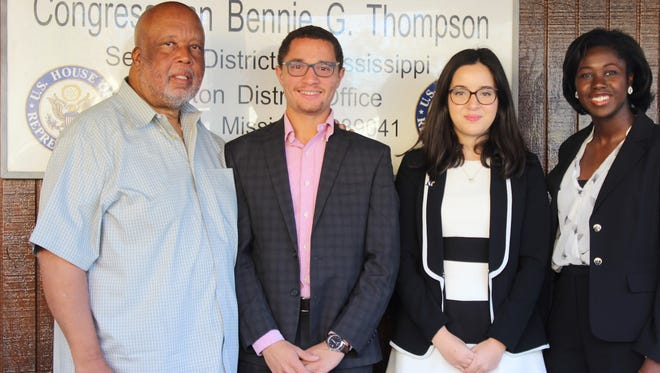 U.S. Rep. Bennie Thompson, left, meets with Lotfi Eljai, Anissa Hidouk and Lufat Rahman as part of the Up to US campaign, which seeks to raise awareness about the national debt.