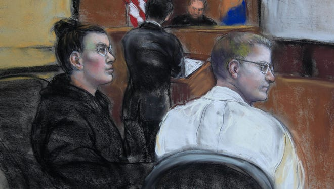 A sketch shows Amy Gonzalez and David Matusiewicz in U.S. District Court for the District of Delaware. The siblings are appealing their cyberstalking resulting in death conviction to the 3rd Circuit.