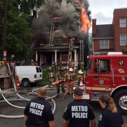 Scene of fire in 1000 block of South Second Street.