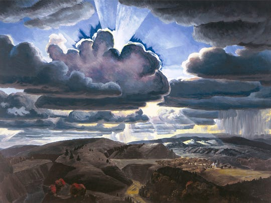"""Charles E. Burchfield's  (1893-1967)  """"Sunburst'' (1929-31) is an oil on canvas work on view at the Montclair Art Museum."""
