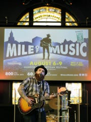 Christopher Gold performs during the Mile of Music kickoff announcement earlier this year at OuterEdge Stage in downtown Appleton. OuterEdge will be a Mile of Music venue this year for the first time.