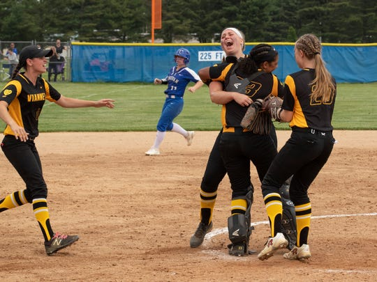 St. John Vianney celebrates their state championship. St John Vianney defeats Donovan Catholic 2-0 in Non-Public South A softball final in Sewell, NJ on May 31, 2018.