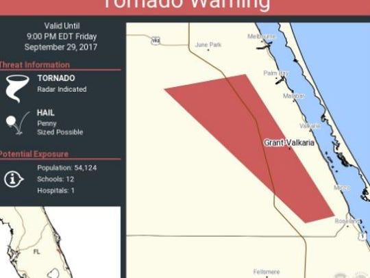 Tornado warning for Brevard