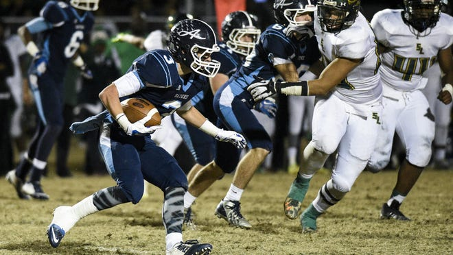 Ascension Episcopal running back Josh Hebert (3) delivered a big performance to push the Blue Gators past East Beauregard on Friday.