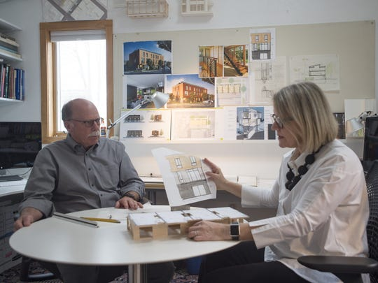 Bob and Laurie Davis work in their studio on Thursday, March 15, 2018. The architects are working to build Fort Collins' first NetZero Energy and Living Building certified townhomes.