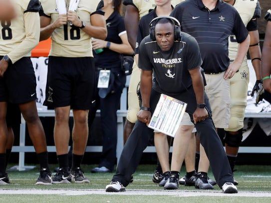 Vanderbilt head coach Derek Mason watches the action