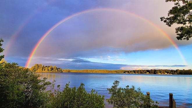 A rainbow is seen over Ashburnham.