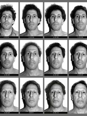 "This panel of black and white self-made photographs provided by Karl Baden shows Baden over the last three decades beginning Feb. 23, 1987, top left, through Feb. 21, 2017, lower right. The Boston College professor's ""Every Day"" project has chronicled his visage in nearly 11,000 photos in various locations with the same lighting and background each day for thirty years. He intends to do it the rest of his life."