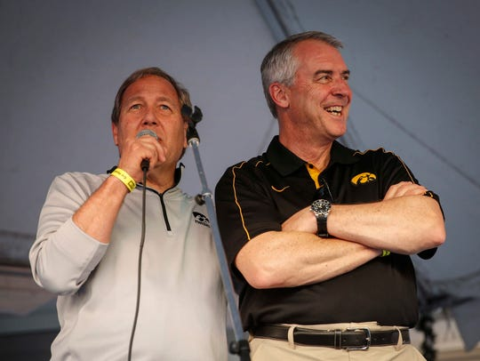 University of Iowa president Bruce Harreld, left, and