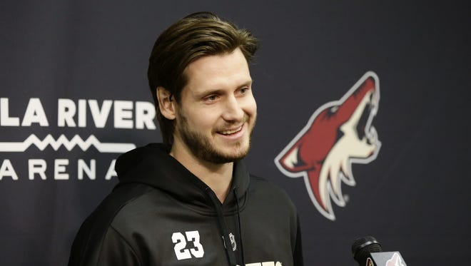 Arizona Coyotes Oliver Ekman-Larsson during media day news conference on Thursday, Sep. 14, 2017 at Gila River Arena in Glendale, Ariz.