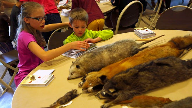 Alena Kalashnik, 12, shows Brendon Galozny, 6, different mammals during the Junior Naturalist Series at Gorman Nature Center on Saturday. Children learned during the afternoon about what creatures nest or burrow in the wild.