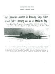 Jan. 19, 1945, article from the Free Press covers the crash of a Royal Canadian Air Force plane on Malletts Bay.