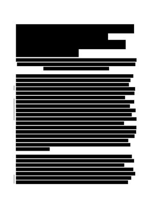 Page from FOIL response, redacting all words.