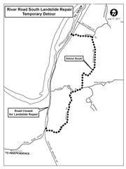 A map of the detour route during the closure on River Road South.