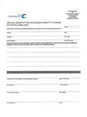 The City of Cincinnati's complaint form for conversion