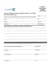 The City of Cincinnati's complaint form for conversion therapy.