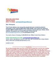 False Mega Millions letter