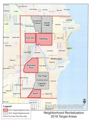 City of Sheboygan Planning and Development's map of the end of 2017, beginning of 2018 lighting survey project target areas.