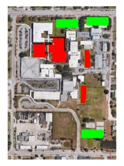 The green rectangles represent where Martin County School District could build a 50,000 sq. ft. headquarters. School Board members favor either the top left option on Ocean Boulevard or the bottom right option on Martin Luther King Jr. Boulevard.