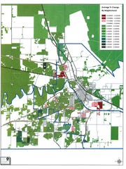 A Wichita Appraisal District map shows areas of Wichita Falls where property values changed. Dark green/black sections show areas with the largest increase in property values. A neighborhood in the southwestern portion of the city on Bayberry shows the largest increase in value in the county - up 8.3 percent from 2017.