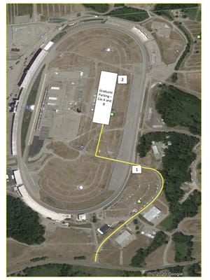 """This Google Images screenshot and map shows the entrance into Michigan International Speedway, in which those vehicles marked Cars """"A and B"""" must enter. These vehicles will be entering MIS off of U.S. 12 and will be following signs for turn 2. Seniors driving their own vehicle, or seniors sitting directly behind the driver of a vehicle, will be grouped into Cars A and B."""