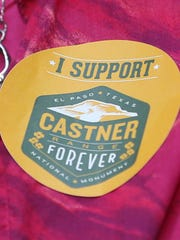 People wore stickers to show their support of the Castner Range national monument.