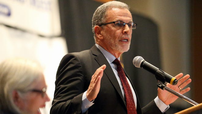 Actor Tony Plana talks about his life and Hector P. Garcia during the Hector P. Garcia Memorial Program on Tuesday, Jan. 17, 2017, at the American Bank Center in Corpus Christi.