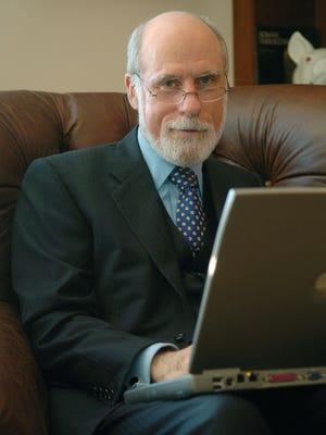 Vint Cerf works on his computer in his McLean, Va. home.