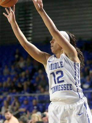 MTSU'sBrea Edwards (12) has already racked up awards this season. With her recent play on the seven game win streak, she could be in line for more.