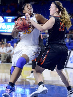 Westview's Deja Graves goes up against Elizabethton's Emily Schubert during the Class AA quarterfinals last season.