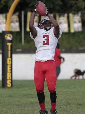 Newport's William Beamon takes the kick return for the Wildcats in their 37-8 loss at Bellevue on Friday.