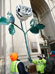 York is continuing its tradition of dropping a white rose in Continental Square on New Year's Eve.