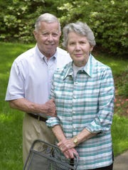 Dr. Larry McCalla and his wife, Rachel, pose for a photo in their backyard in 2002. Larry McCalla died on Oct. 10, 2017, at the age of 94.