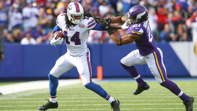 Bills receiver Sammy Watkins (14) tries to get outside of Vikings CB Josh Robinson two weeks ago during the Bills' 17-16 win. Watkins caught 9 passes for 122 yards and 2 TDs.