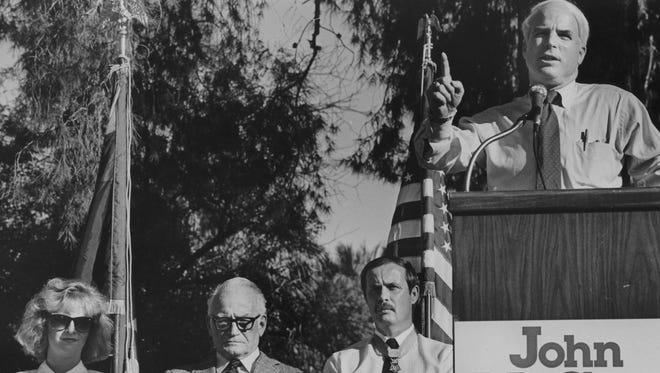 John McCain speaks to an audience in Encanto Park in Phoenix on Oct. 18, 1986.