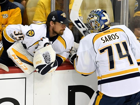 Nashville Predators goalie Pekka Rinne (35) talks to