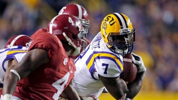Leonard Fournette rushed for 1,034 yards and 10 touchdowns as a true freshman last season at LSU .