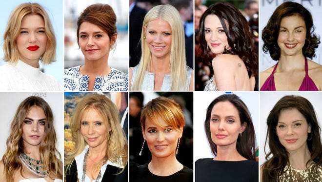 Top row, from left to right: Lea Seydoux, Emma de Caunes, Gwyneth Paltrow, Asia Argento and Ashley Judd. Bottom row, from left to right: Cara Delevingne, Rosanna Arquette, Judith Godreche, Angelina Jolie, Rose McGowan. These actors have made accusations of sexual assault against film producer Harvey Weinstein.