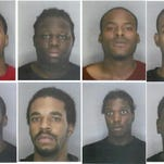 Starting in the upper left corner, from left to right: Andre Cousins, Armani Taylor-Hatchett, Bernard Wilkerson, Darnell Rush. In the lower left corner, from left to right: Deshawn Landers, Jalen Johnson, Jimmy Harris and Tommie Vaughn. All eight are Detroit residents and were arrested earlier this month when police say they tried to steal several vehicles from a secured lot.